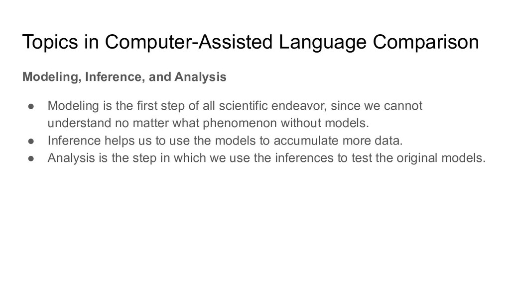 Topics in Computer-Assisted Language Comparison...