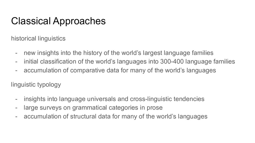 Classical Approaches historical linguistics - n...