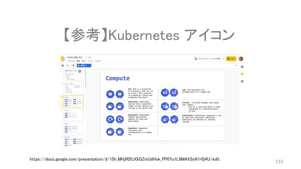 【参考】Kubernetes アイコン 113 https://docs.google.com...