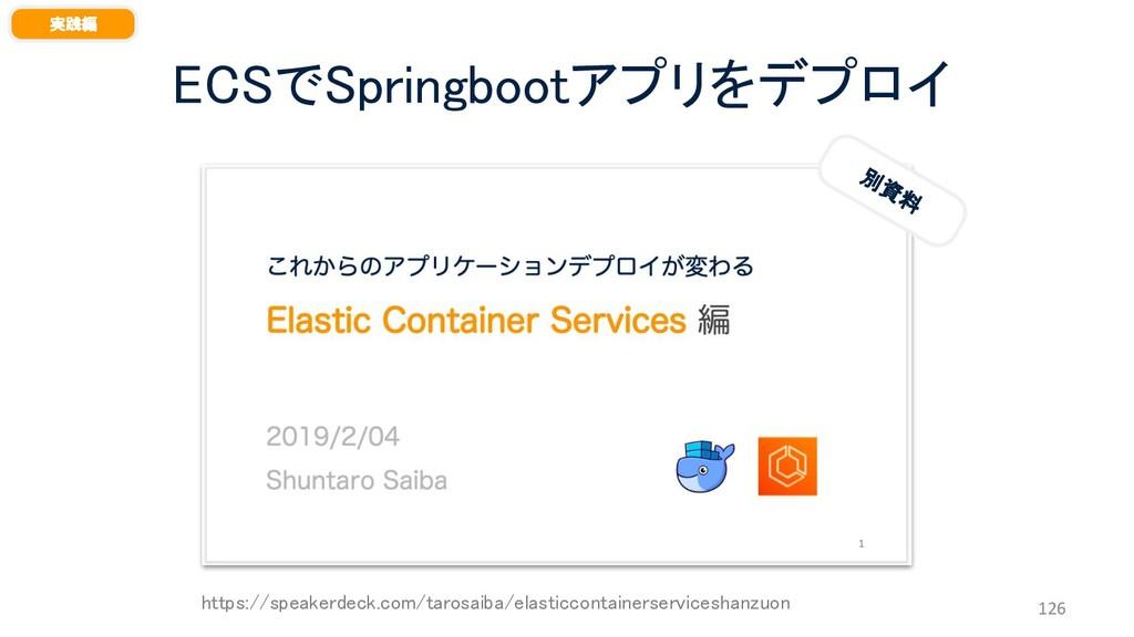 ECSでSpringbootアプリをデプロイ 126 実践編 別 資 料 https://sp...