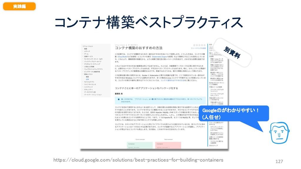 コンテナ構築ベストプラクティス 127 実践編 別 資 料 https://cloud.goo...