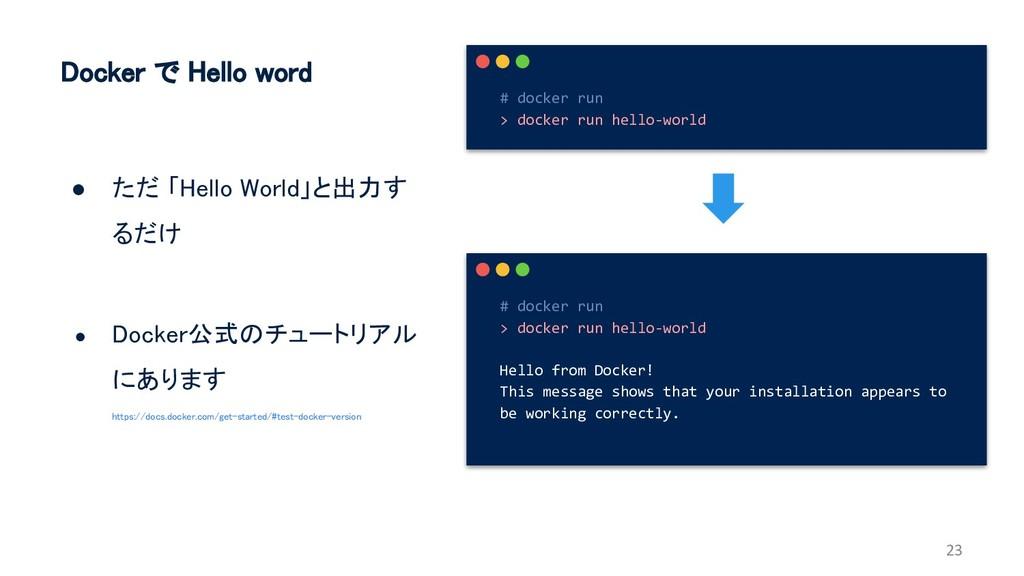 Docker で Hello word ● ただ 「Hello World」と出力す るだけ ...
