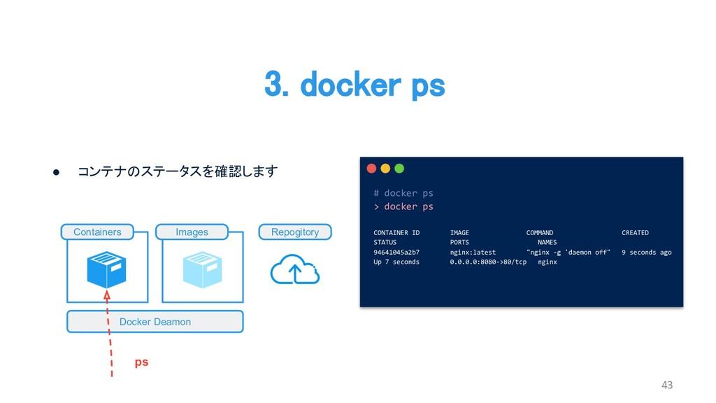3. docker ps 43 # docker ps > docker ps CONTAIN...