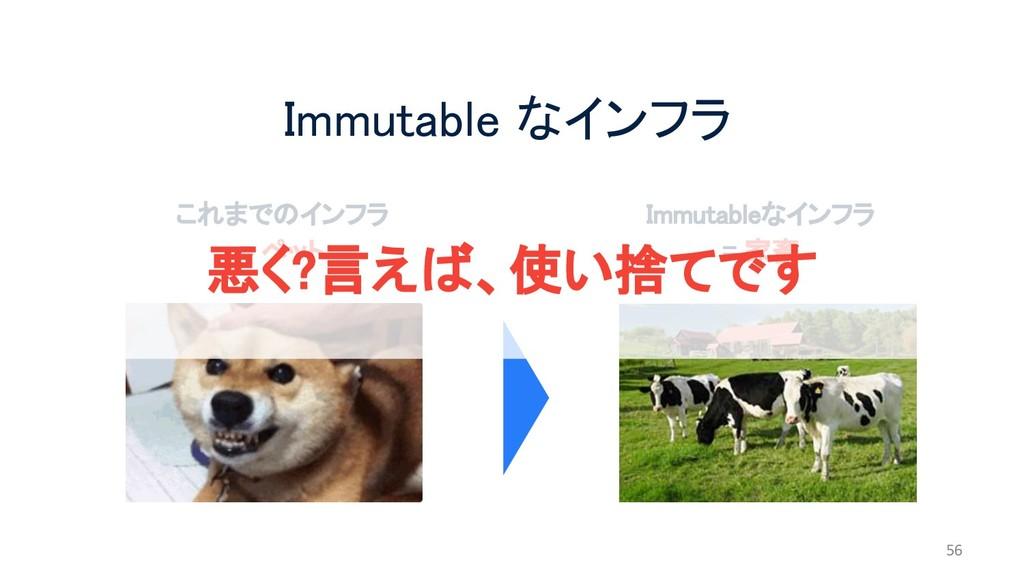 Immutable なインフラ 56 これまでのインフラ = ペット Immutableなイン...