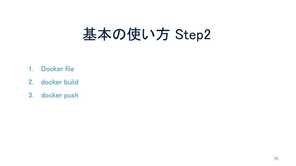 基本の使い方 Step2 76 1. Docker file 2. docker build ...