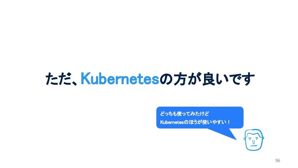 96 ただ、Kubernetesの方が良いです どっちも使ってみたけど Kubernetesの...