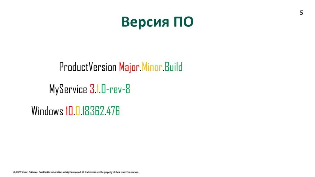 5 Версия ПО ProductVersion Major.Minor.Build My...