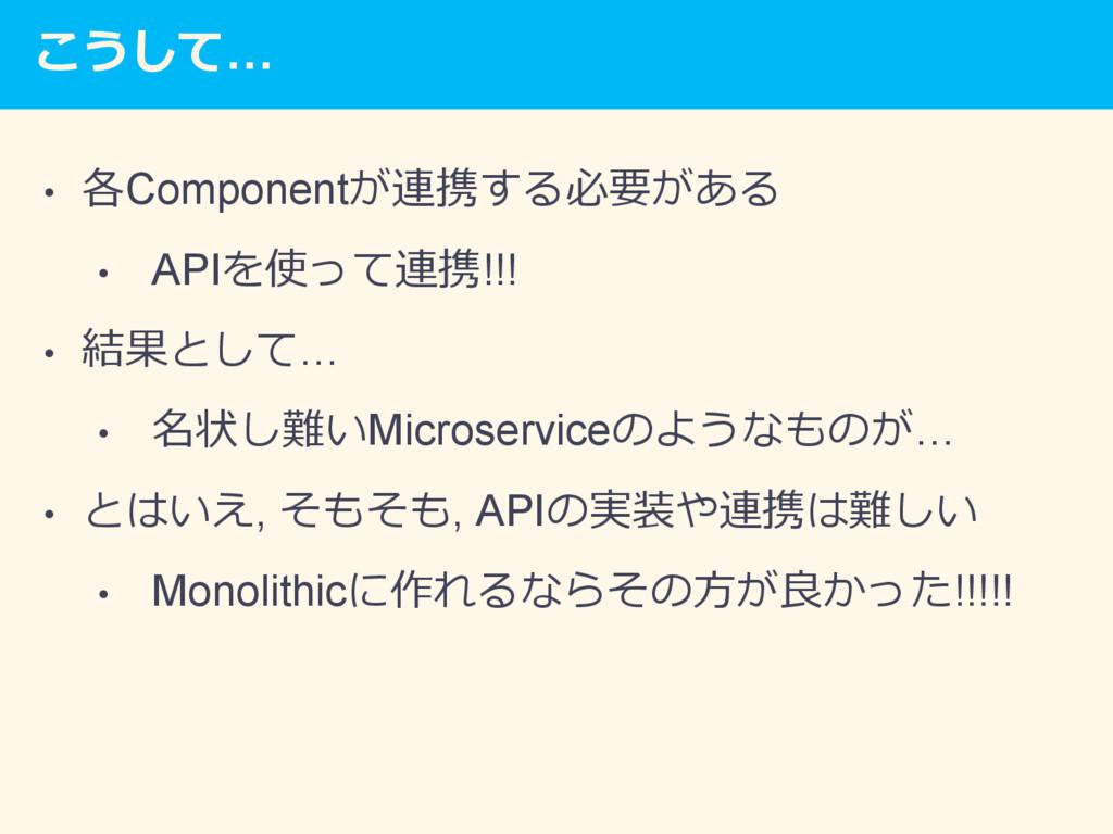 こうして… • 各Componentが連携する必要がある • APIを使って連携!!! •...