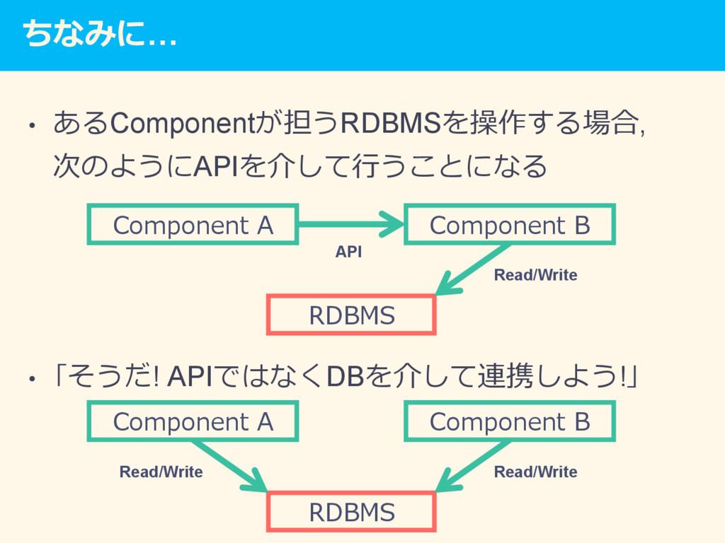ちなみに… • あるComponentが担うRDBMSを操作する場合, 次のようにAPIを介...