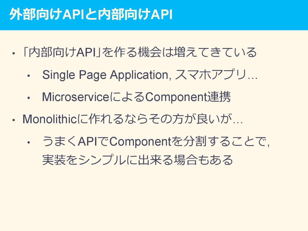 外部向けAPIと内部向けAPI • 「内部向けAPI」を作る機会は増えてきている • Si...