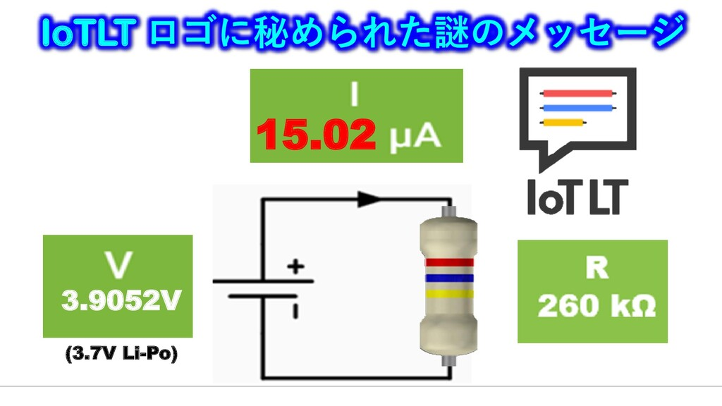 3.9052V (3.7V Li-Po) IoTLT ロゴに秘められた謎のメッセージ 15.02