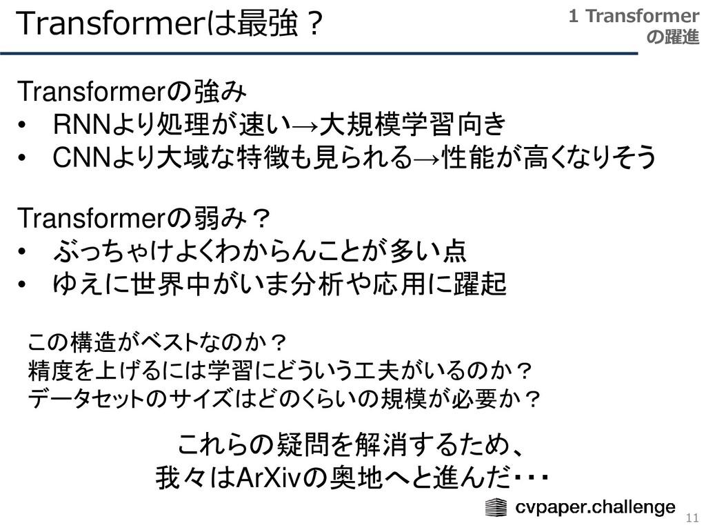 Transformerは最強? 11 1 Transformer の躍進 Transforme...