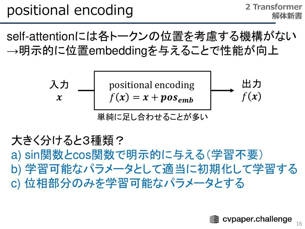 positional encoding 16 2 Transformer 解体新書 self-...