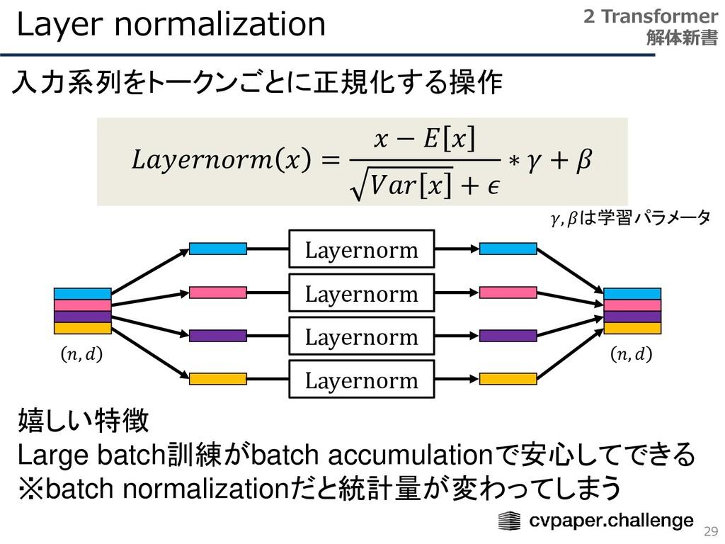 Layer normalization 29 2 Transformer 解体新書 𝐿𝑎𝑦𝑒𝑟...