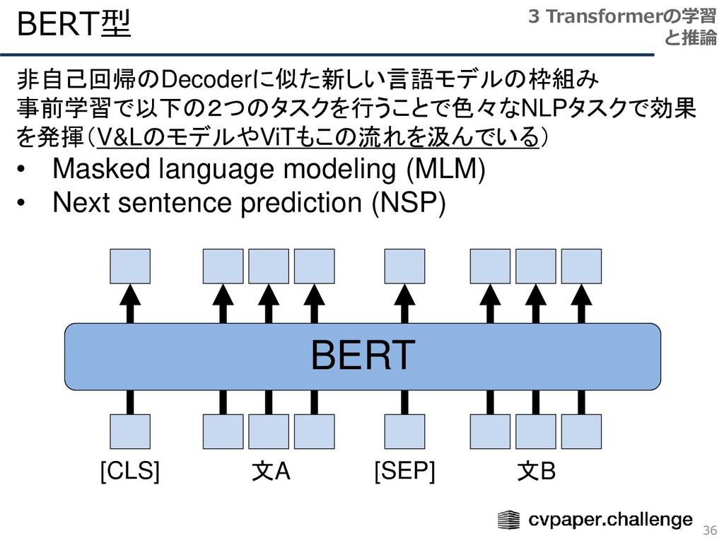 BERT型 36 3 Transformerの学習 と推論 非自己回帰のDecoderに似た新...
