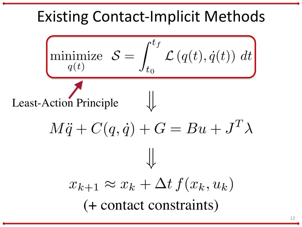 Existing Contact-Implicit Methods 12 minimize q...