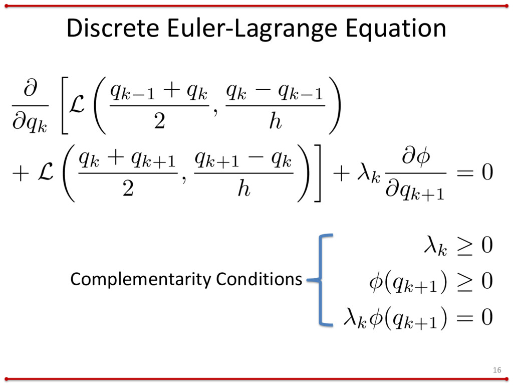 Discrete Euler-Lagrange Equation 16 Complementa...