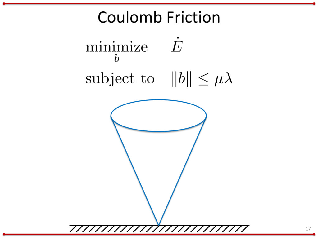 Coulomb Friction 17 minimize b ˙ E subject to k...