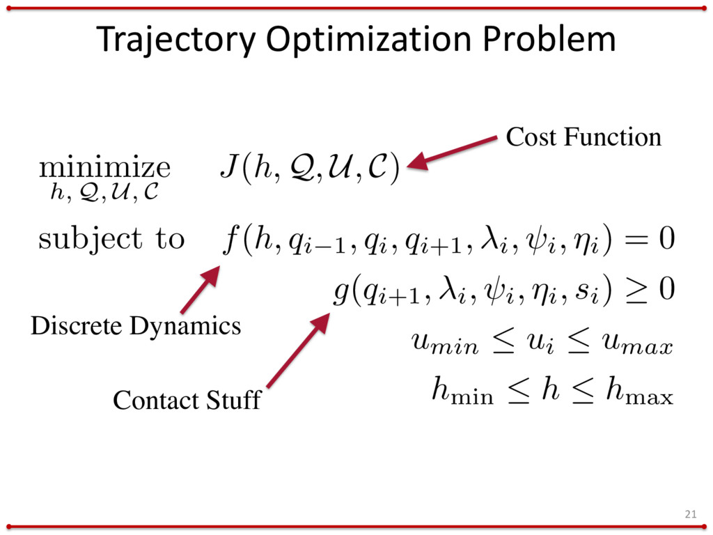 Trajectory Optimization Problem 21 minimize h, ...