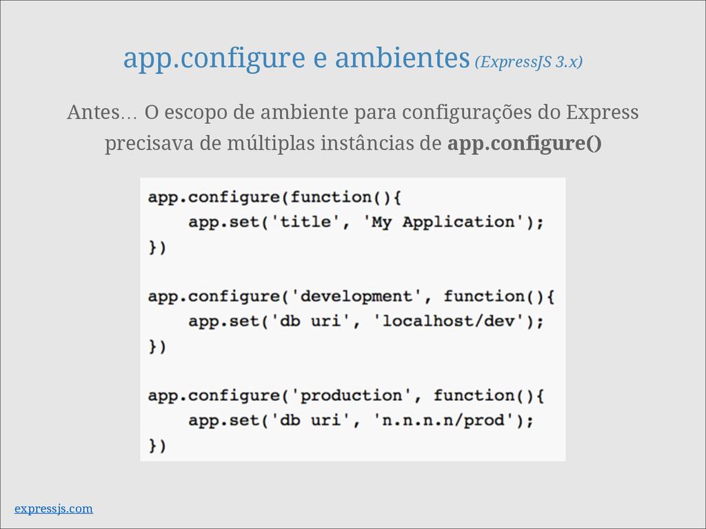 app.configure e ambientes (ExpressJS 3.x) Antes...