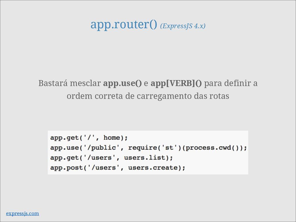app.router() (ExpressJS 4.x) expressjs.com Bast...