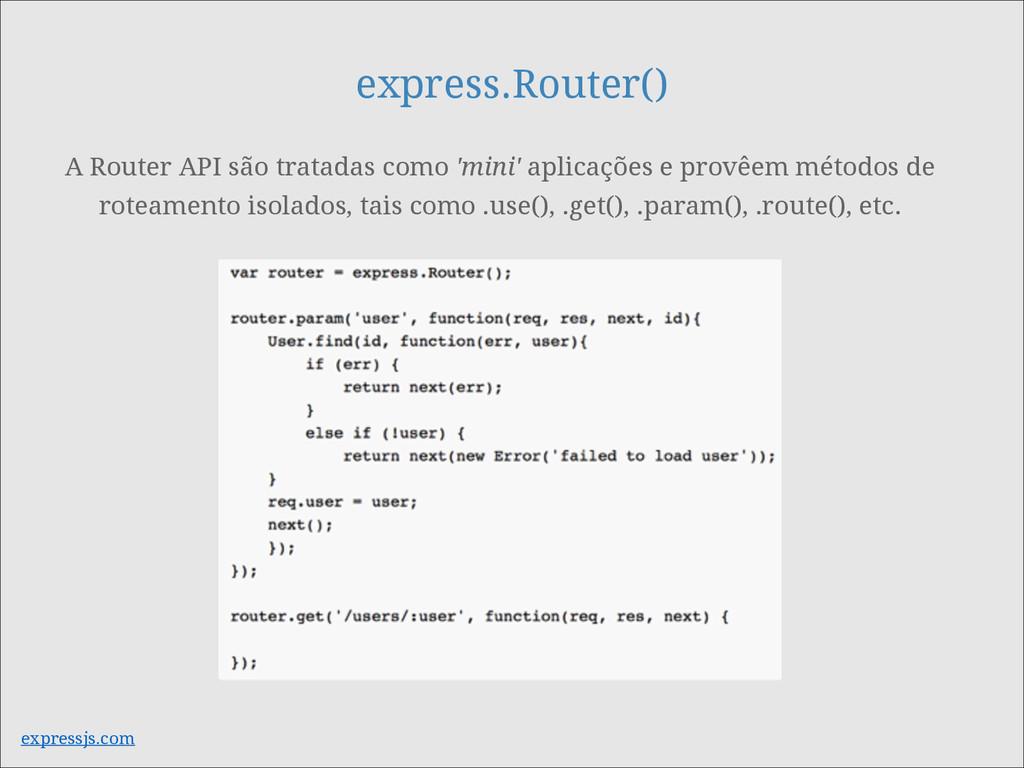 express.Router() A Router API são tratadas como...