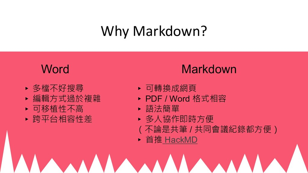 Why Markdown? ▸ 可轉換成網頁 ▸ PDF / Word 格式相容 ▸ 語法簡單...