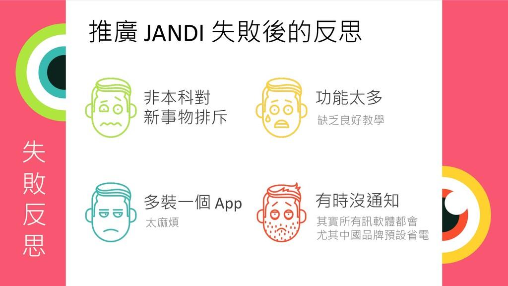 失 敗 反 思 推廣 JANDI 失敗後的反思 非本科對 新事物排斥 功能太多 多裝一個 Ap...