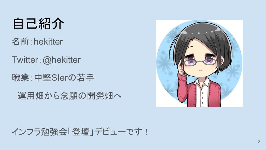 自己紹介 名前:hekitter Twitter:@hekitter 職業:中堅SIerの若手...