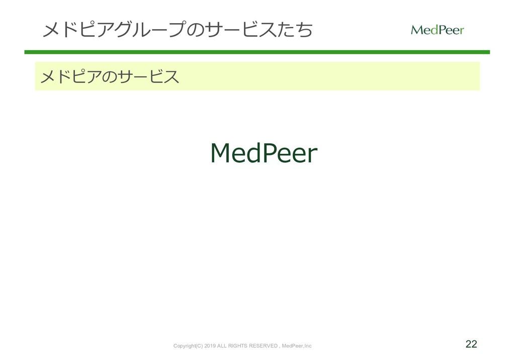 22 メドピアグループのサービスたち メドピアのサービス MedPeer Copyright(...