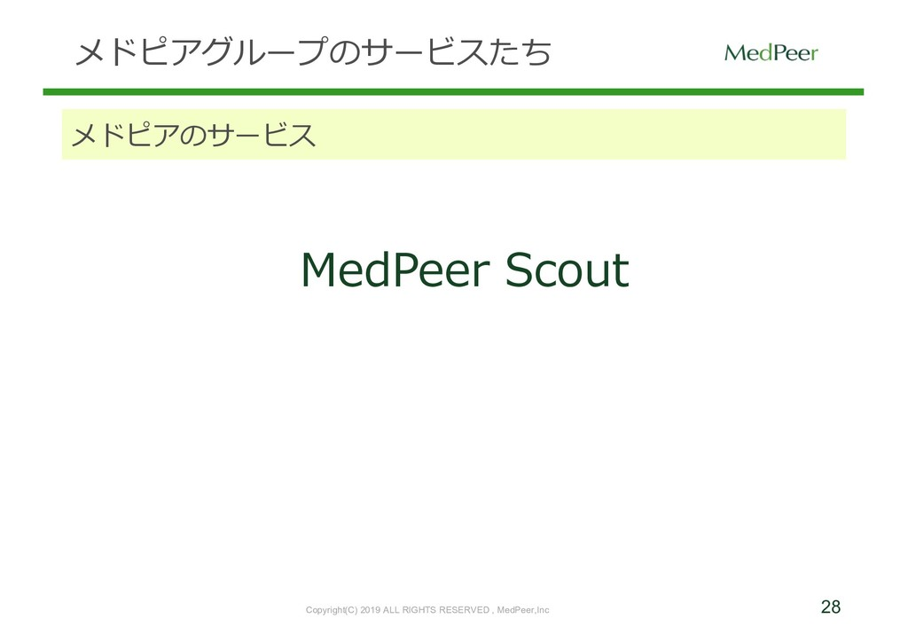 28 メドピアグループのサービスたち メドピアのサービス MedPeer Scout Copy...
