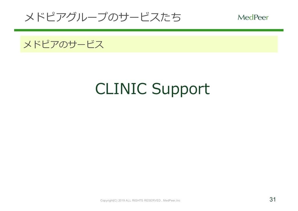 31 メドピアグループのサービスたち メドピアのサービス CLINIC Support Cop...