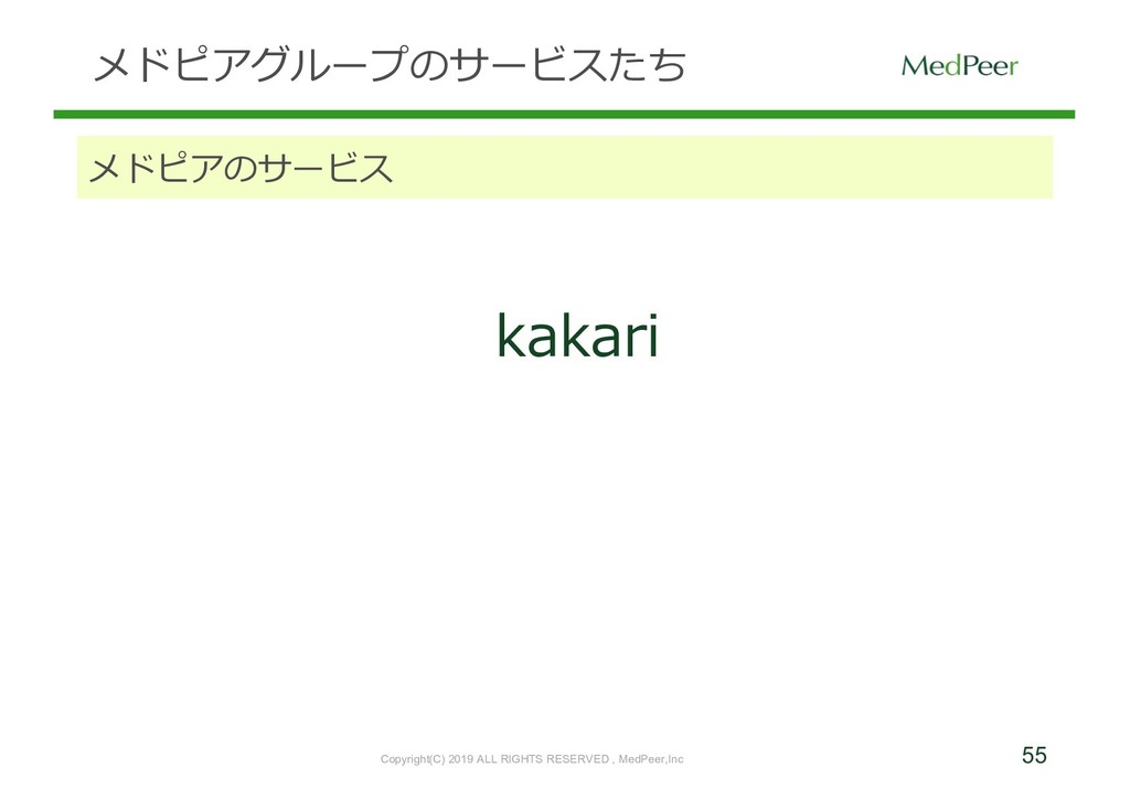55 メドピアグループのサービスたち メドピアのサービス kakari Copyright(C...