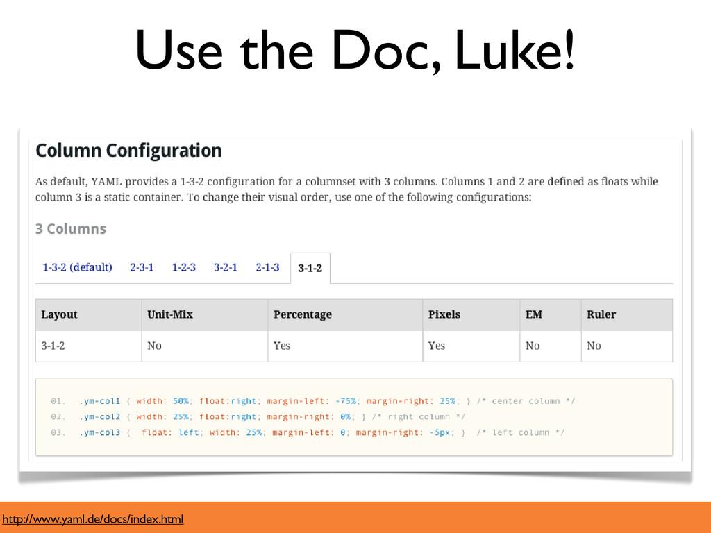 Use the Doc, Luke! http://www.yaml.de/docs/inde...