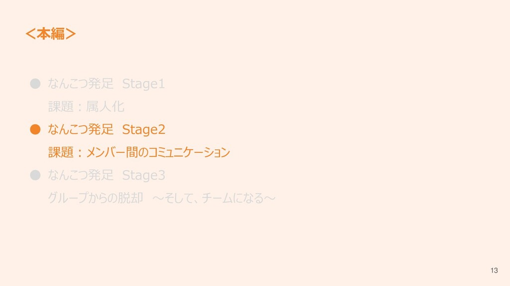 <本編> ● なんこつ発足 Stage1 課題:属人化 ● なんこつ発足 Stage2 課題:...