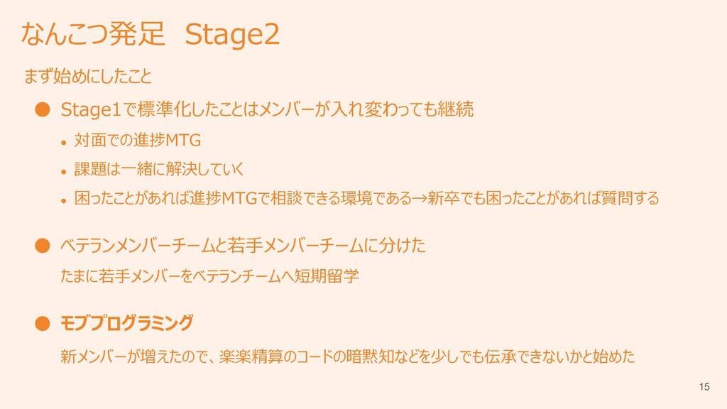 なんこつ発足 Stage2 まず始めにしたこと ● Stage1で標準化したことはメンバーが入...