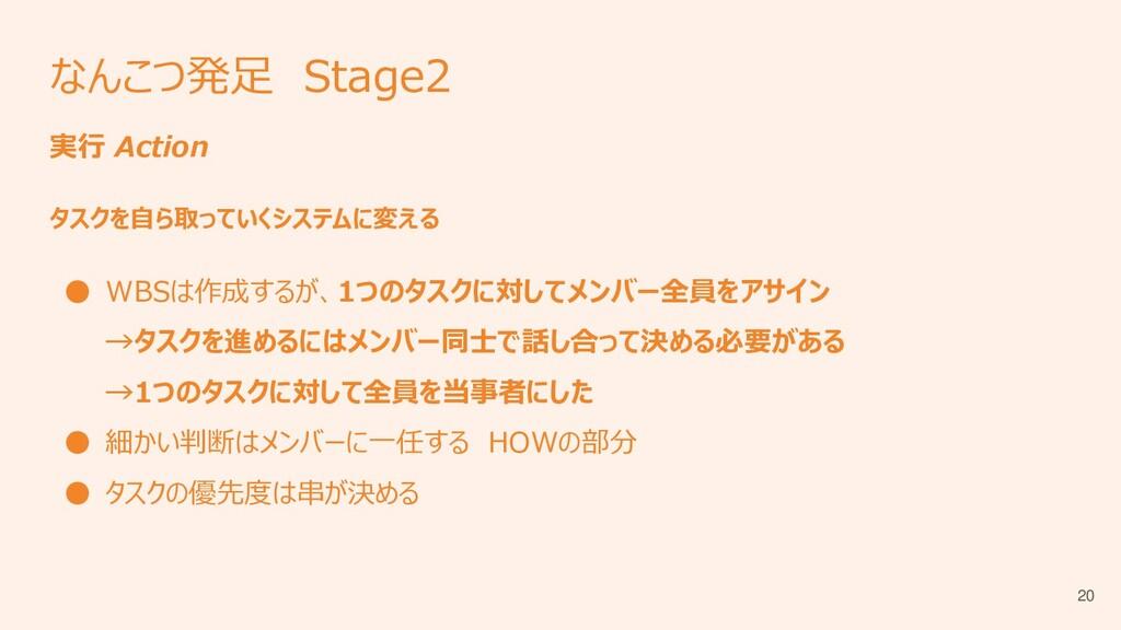 なんこつ発足 Stage2 実行 Action タスクを自ら取っていくシステムに変える ● W...