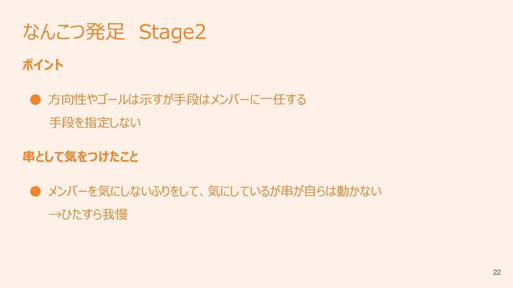 なんこつ発足 Stage2 ポイント ● 方向性やゴールは示すが手段はメンバーに一任する 手段...