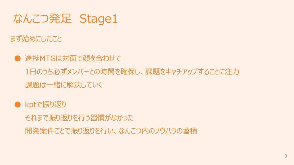 なんこつ発足 Stage1 まず始めにしたこと ● 進捗MTGは対面で顔を合わせて 1日のうち...