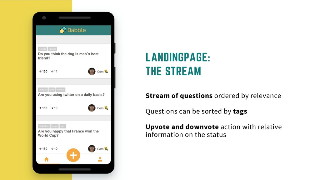 LANDINGPAGE: THE STREAM Stream of questions ord...