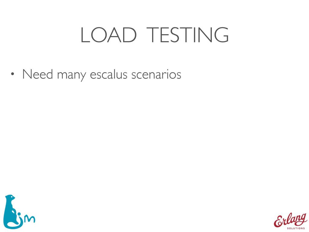 LOAD TESTING • Need many escalus scenarios