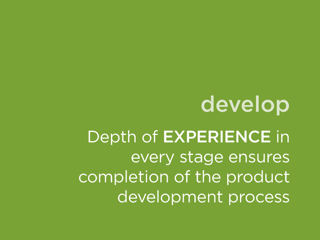 develop Depth of EXPERIENCE in every stage ensu...