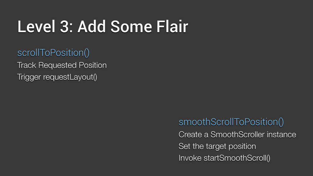 Level 3: Add Some Flair scrollToPosition() Trac...