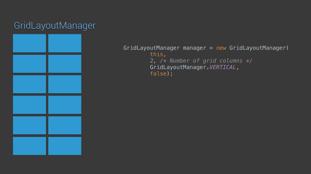 GridLayoutManager GridLayoutManager manager = n...