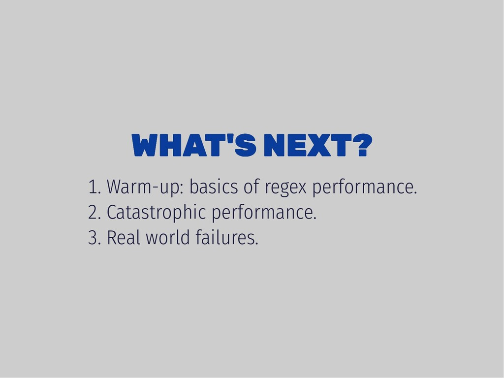 WHAT'S NEXT? WHAT'S NEXT? . Warm-up: basics of ...