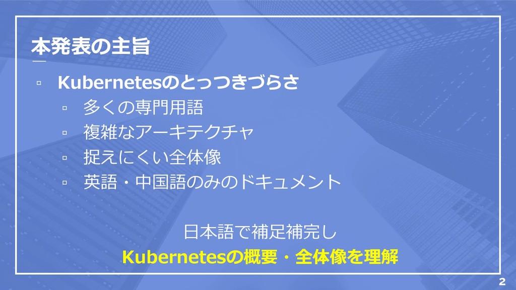 本発表の主旨 ▫ Kubernetesのとっつきづらさ ▫ 多くの専門用語 ▫ 複雑なアーキテ...