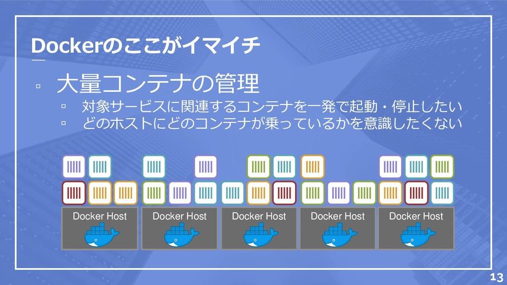 Dockerのここがイマイチ ▫ 大量コンテナの管理 ▫ 対象サービスに関連するコンテナを一発...