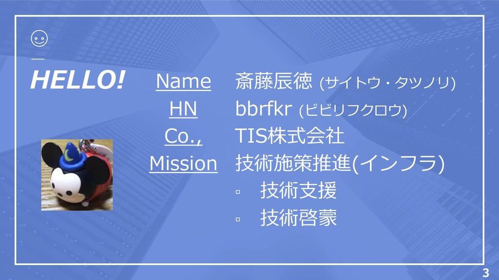 HELLO! Name HN Co., Mission 斎藤辰徳 (サイトウ・タツノリ) bb...