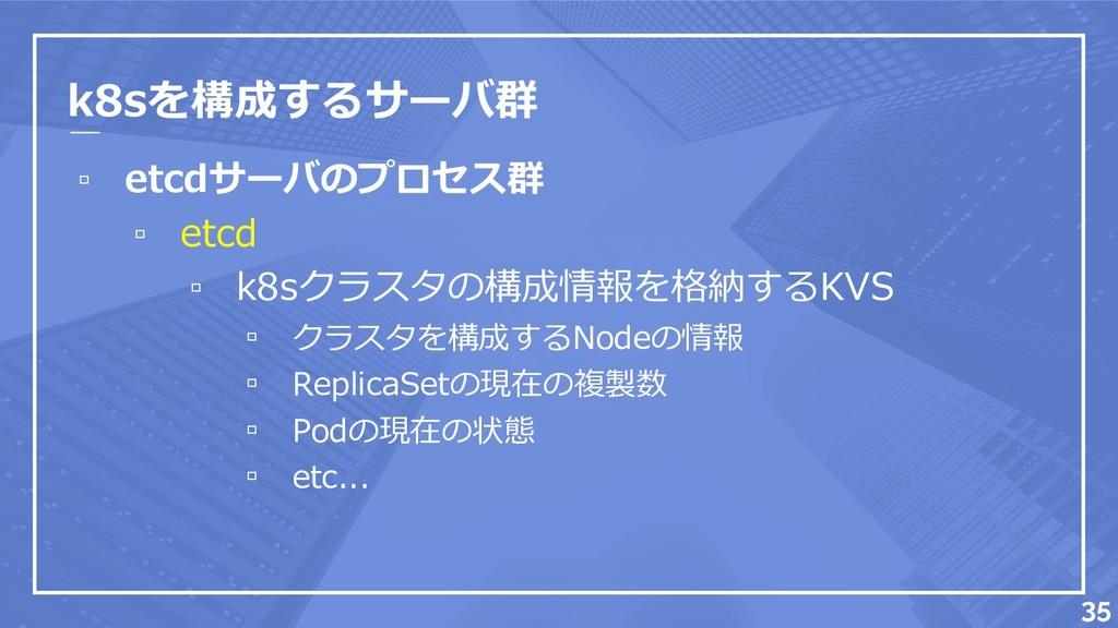 k8sを構成するサーバ群 ▫ etcdサーバのプロセス群 ▫ etcd ▫ k8sクラスタの構...