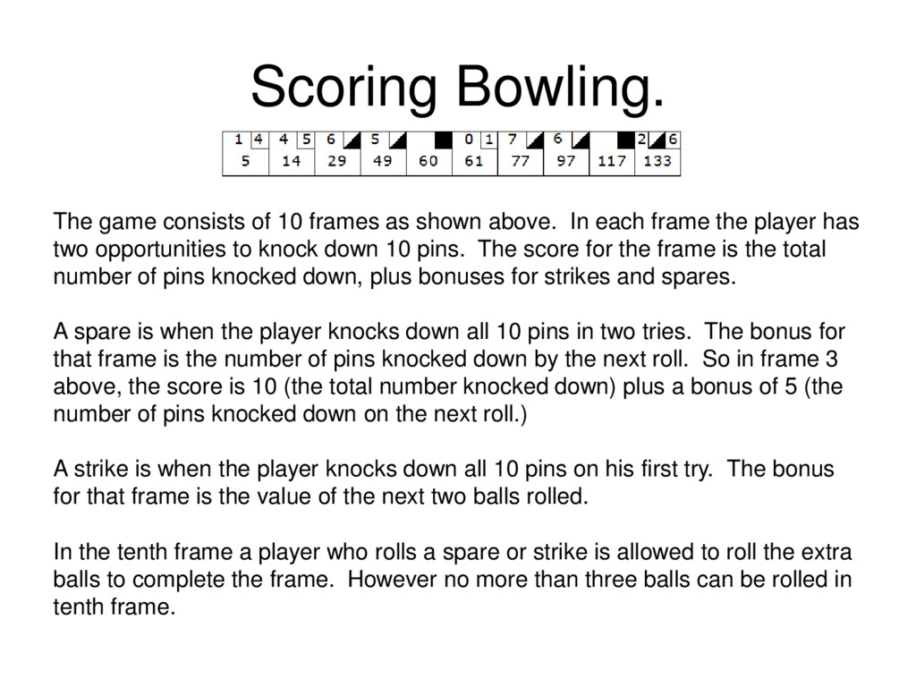 Scoring Bowling. The game consists of 10 frames...